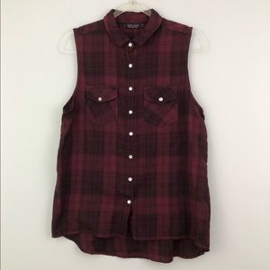 Topshop Flannel Button Down Tank Top Blouse Red